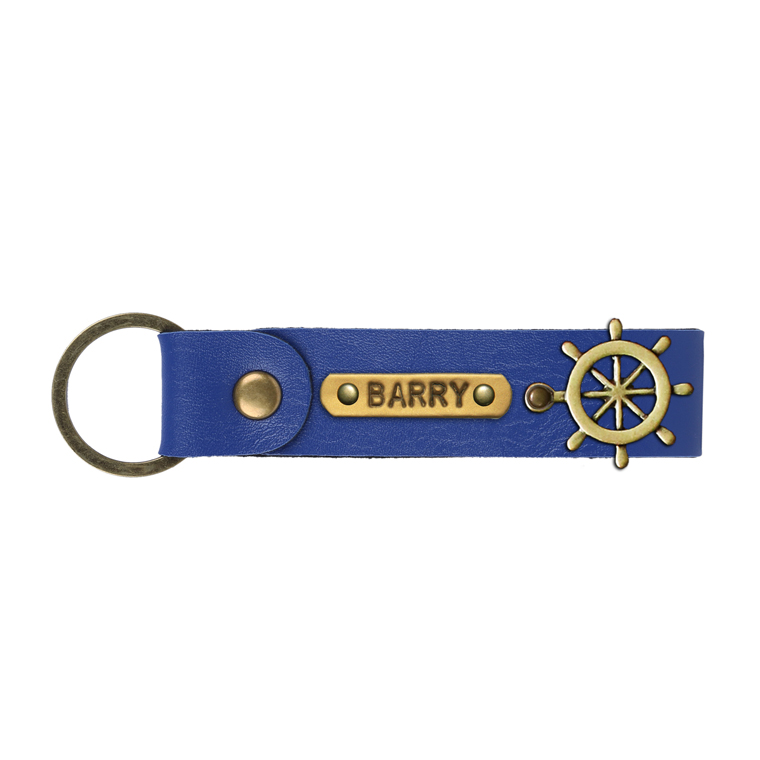 Personalized Leather Keychain - Navy Blue