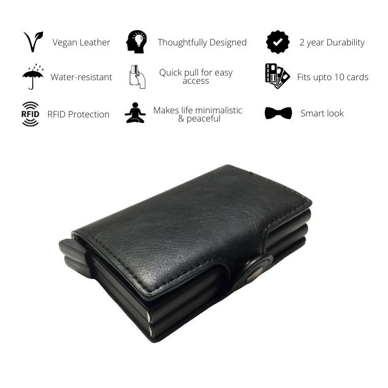 Personalized Mens Double RFID Wallet - Carbon Black