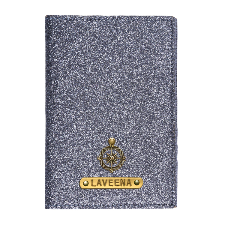 Personalized Passport Cover - Glitter Grey