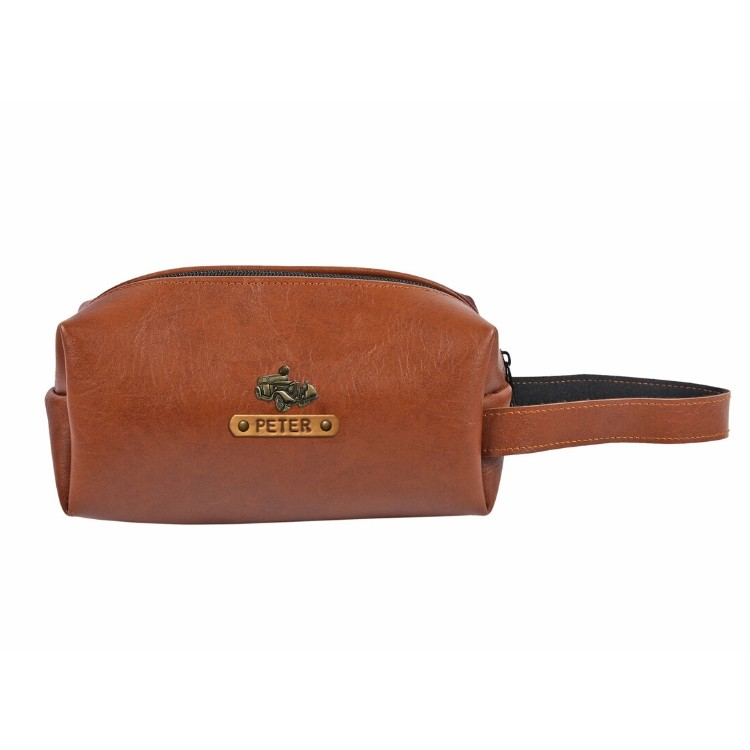 Personalized Toiletry Pouch - Chocolate Brown