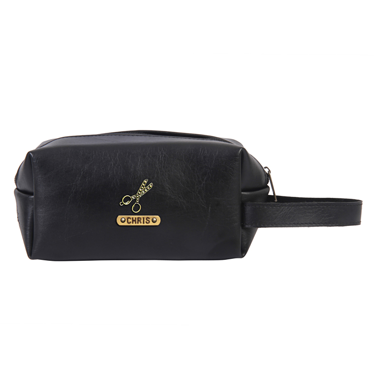 Personalized Toiletry Pouch - Carbon Black