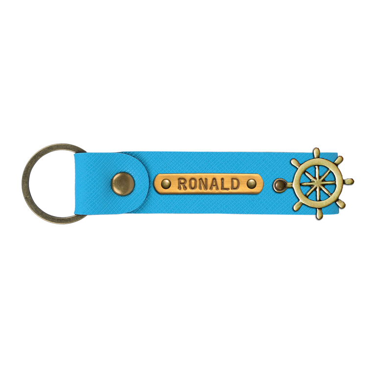 Personalized Leather Keychain - Tiffany Blue