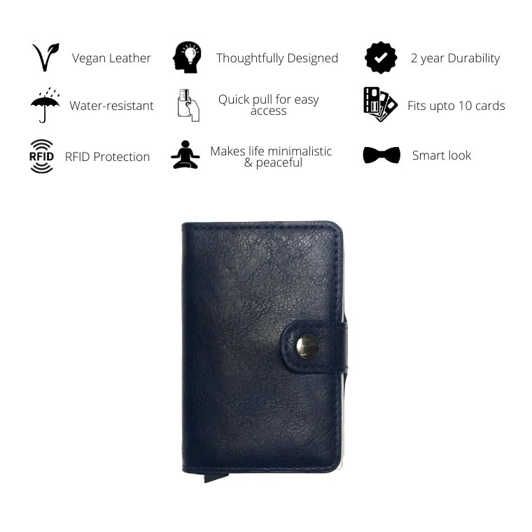 Personalized Mens RFID Wallet - Navy Blue