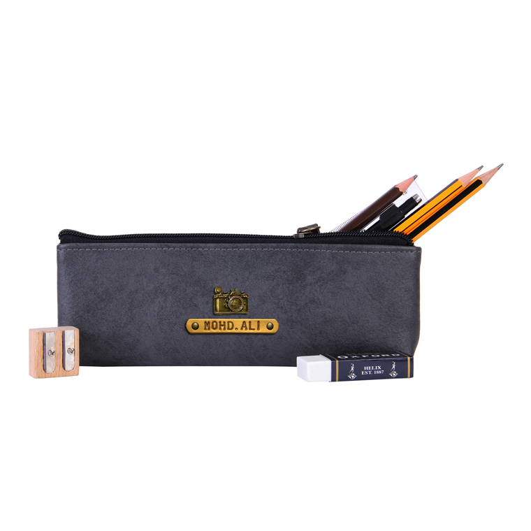 Personalized Pencil Pouch - Grey