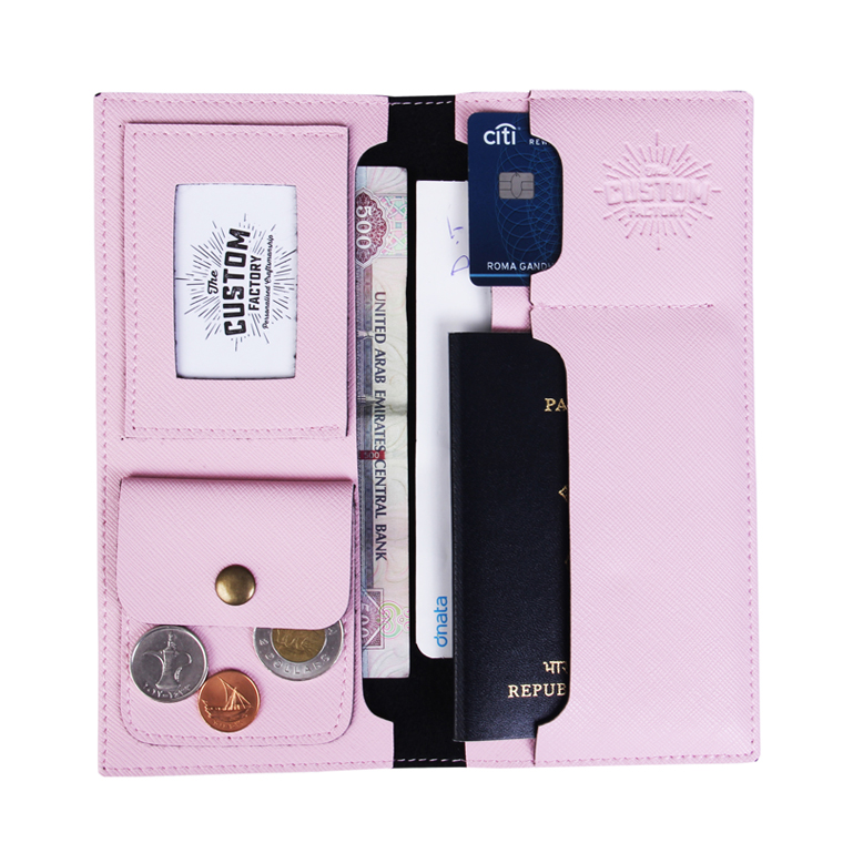 Personalized Travel Wallet - Baby Pink