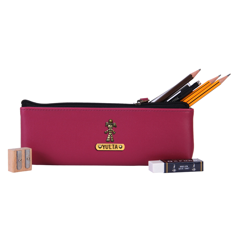 Personalized Pencil Pouch - Wine