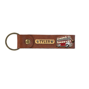 Personalized Leather Keychain - Chocolate Brown