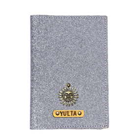 Personalized Passport Cover - Glitter Silver