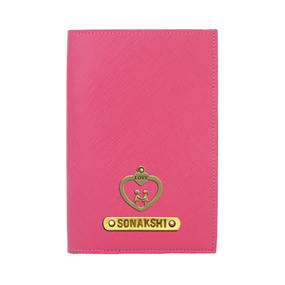 Personalized Passport Cover - Hot Pink