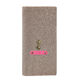 Personalized Travel Wallet - Glitter Rose Gold