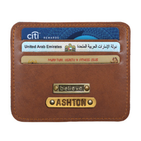 Personalized Classic Card Holder - Chocolate Brown