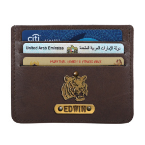 Personalized Classic Card Holder - Coffee