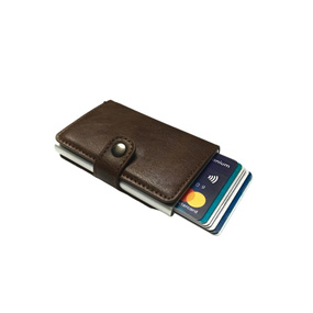 Personalised Single RFID Mens Wallet - Coffee