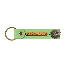 Personalized Leather Keychain - Parrot Green