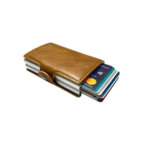 Personalized Mens Double RFID Wallet - Chocolate Brown