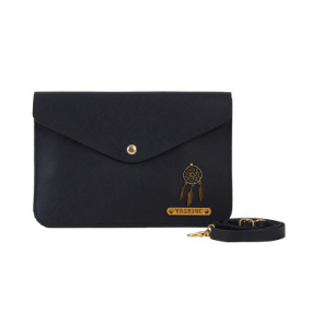 Personalized Women's Medium Clutch - Carbon Black