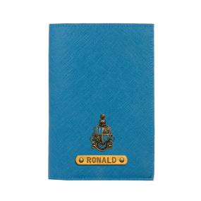 Personalized Passport Cover - Teal Blue