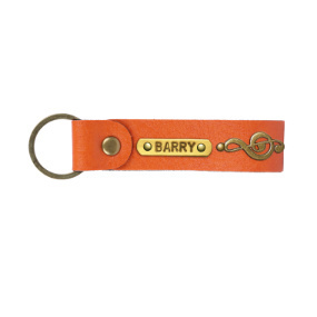 Personalized Leather Keychain - Orange