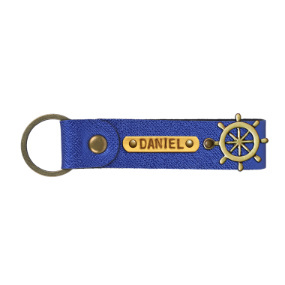 Personalized Leather Keychain - Electric Blue
