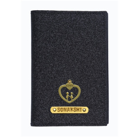 Personalized Passport Cover - Glitter Black