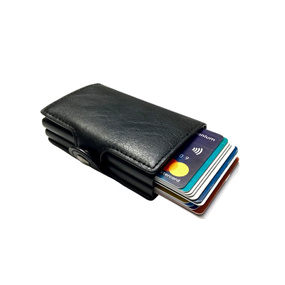 Personalized Double RFID Mens Wallet - Carbon Black