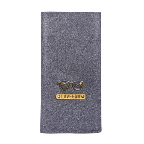 Personalized Travel Wallet - Glitter Grey